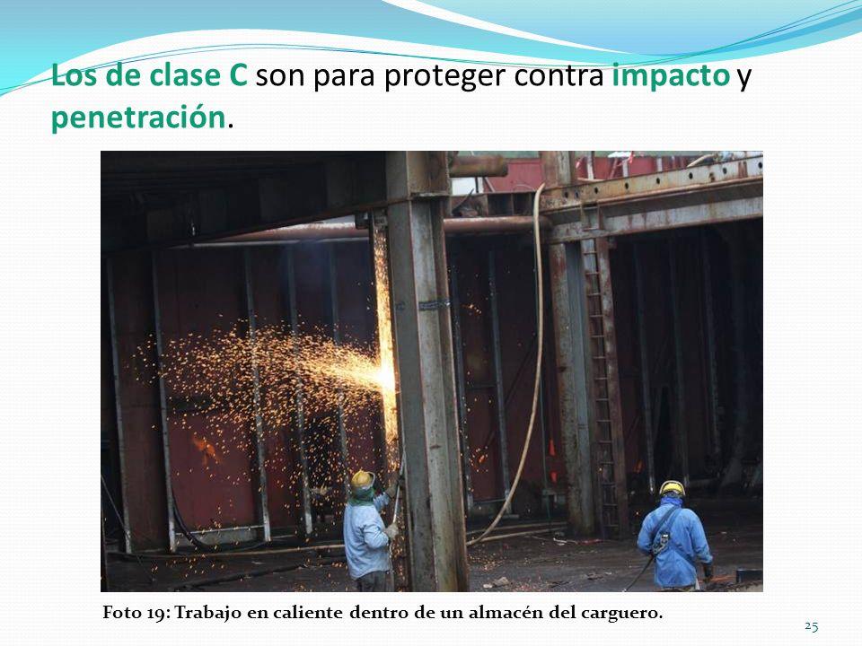 Los de clase C son para proteger contra impacto y penetración.