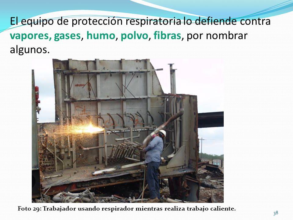 El equipo de protección respiratoria lo defiende contra vapores, gases, humo, polvo, fibras, por nombrar algunos.