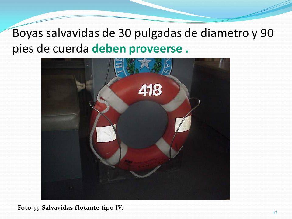 Boyas salvavidas de 30 pulgadas de diametro y 90 pies de cuerda deben proveerse .