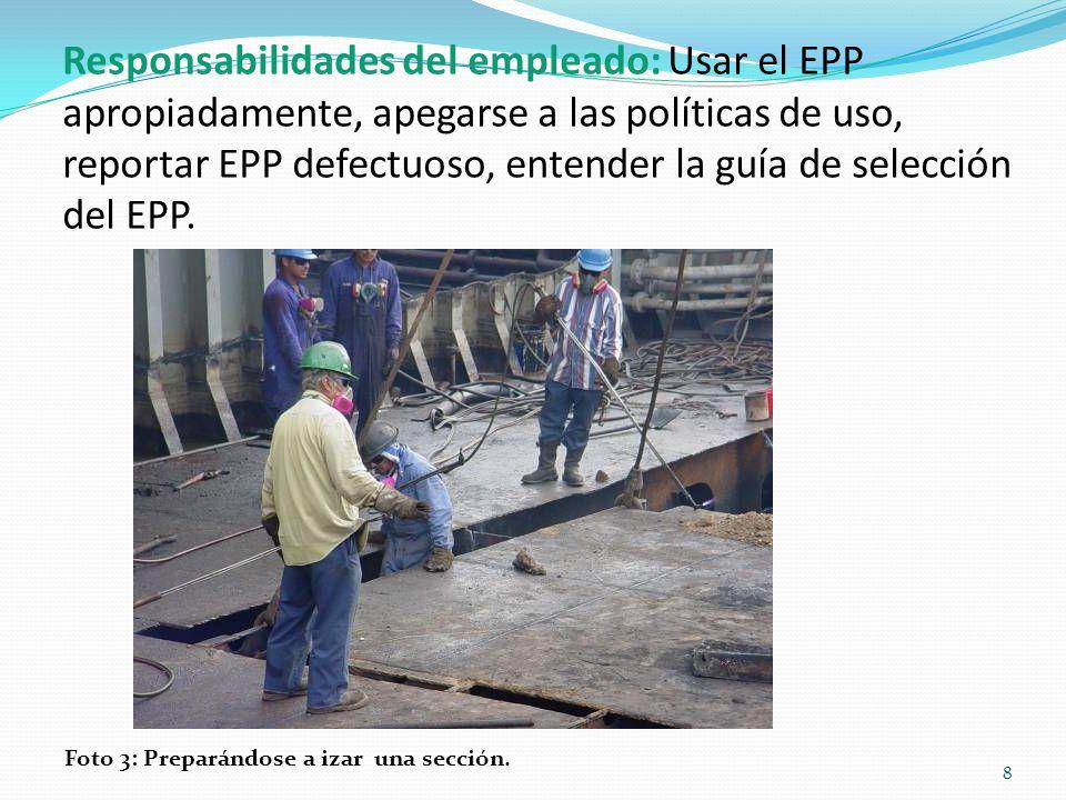 Responsabilidades del empleado: Usar el EPP apropiadamente, apegarse a las políticas de uso, reportar EPP defectuoso, entender la guía de selección del EPP.