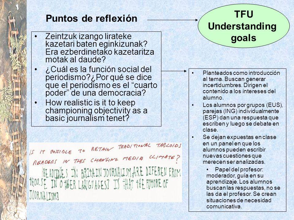 TFU Understanding goals Puntos de reflexión
