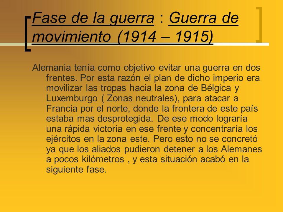 Fase de la guerra : Guerra de movimiento (1914 – 1915)