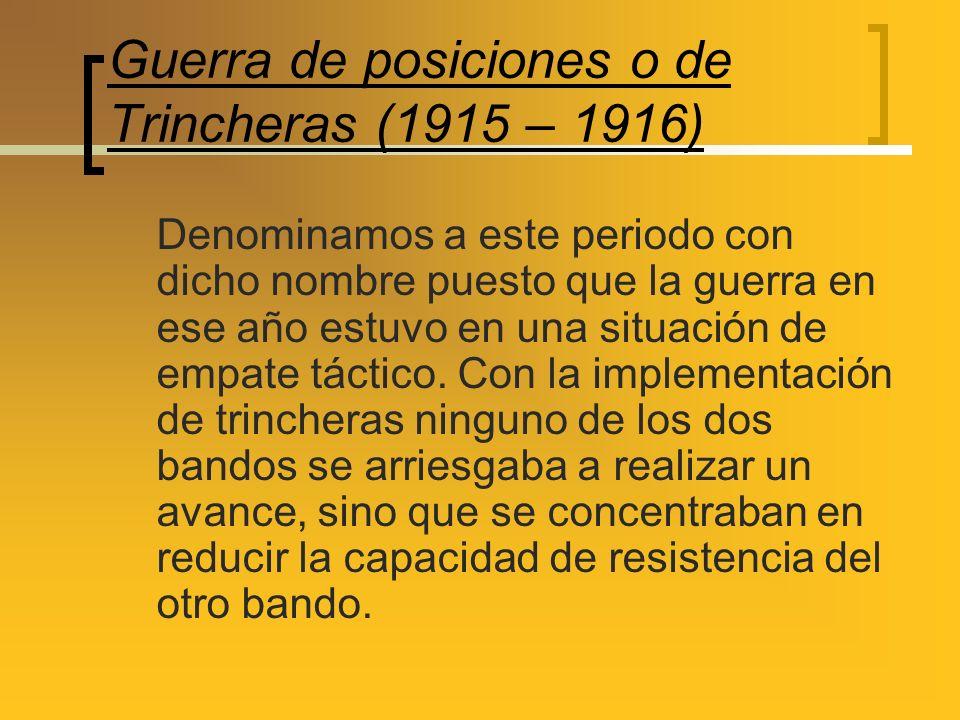 Guerra de posiciones o de Trincheras (1915 – 1916)