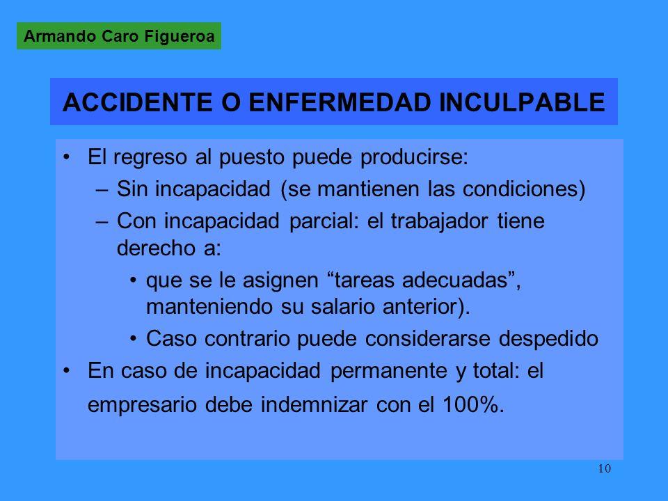 ACCIDENTE O ENFERMEDAD INCULPABLE