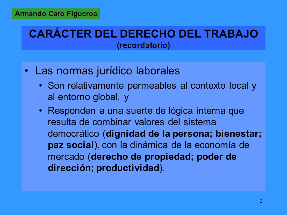 CARÁCTER DEL DERECHO DEL TRABAJO (recordatorio)