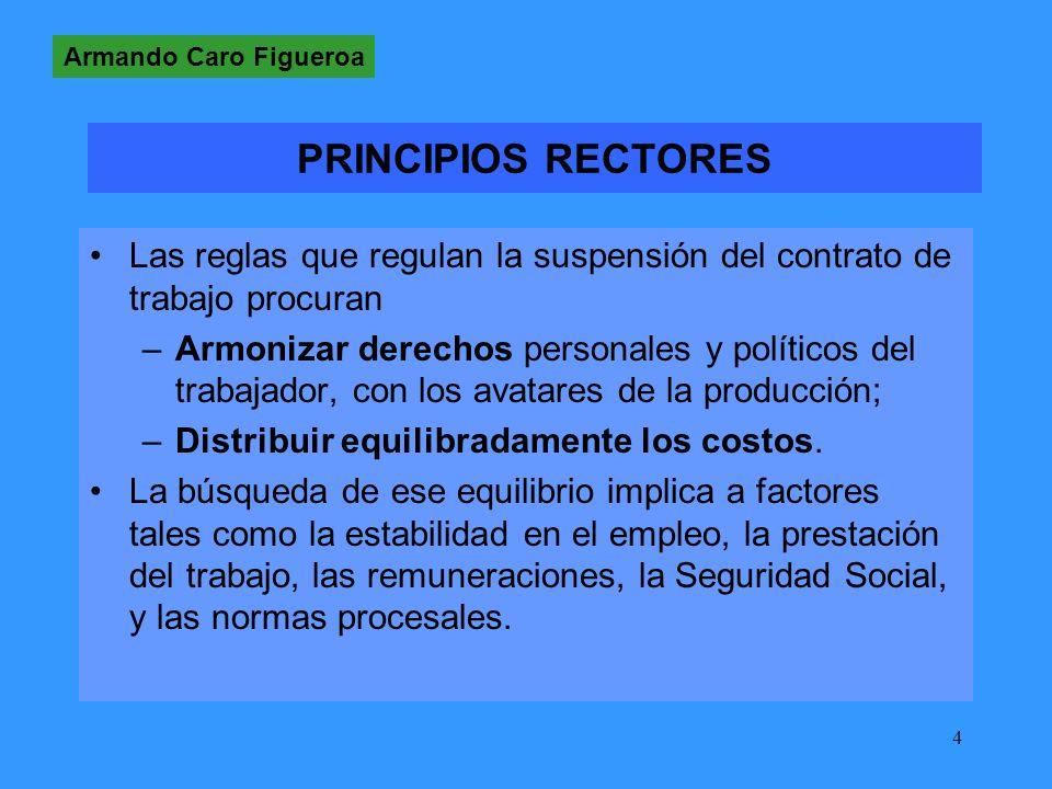 Armando Caro Figueroa PRINCIPIOS RECTORES. Las reglas que regulan la suspensión del contrato de trabajo procuran.