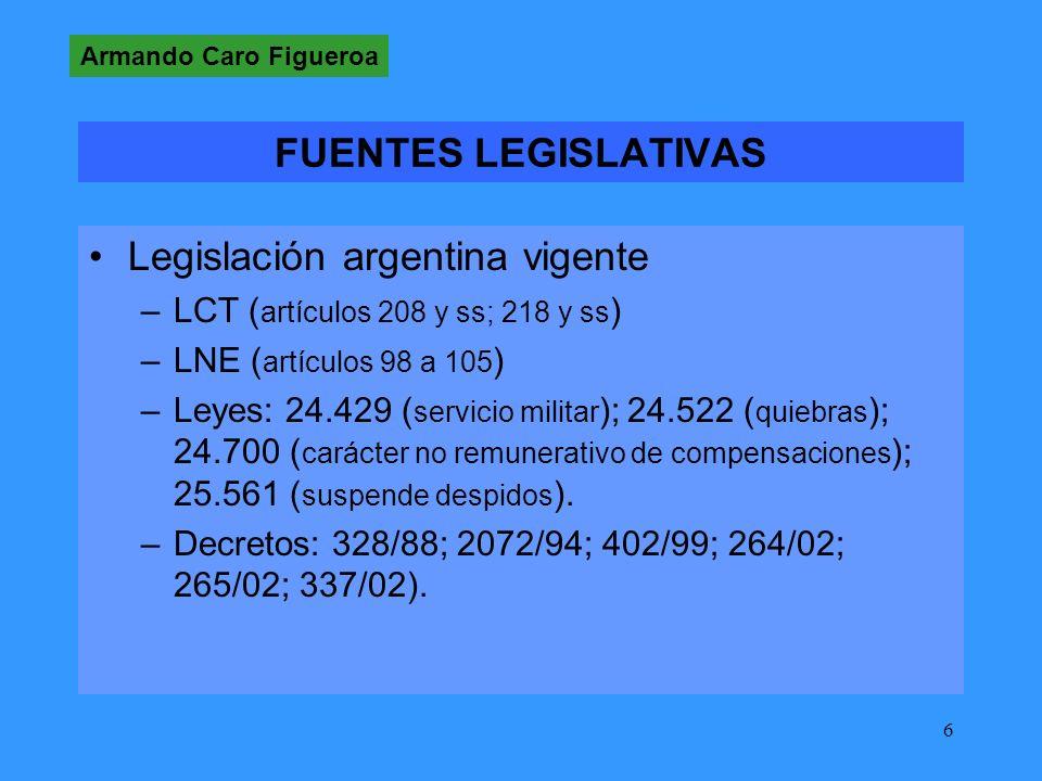 Legislación argentina vigente