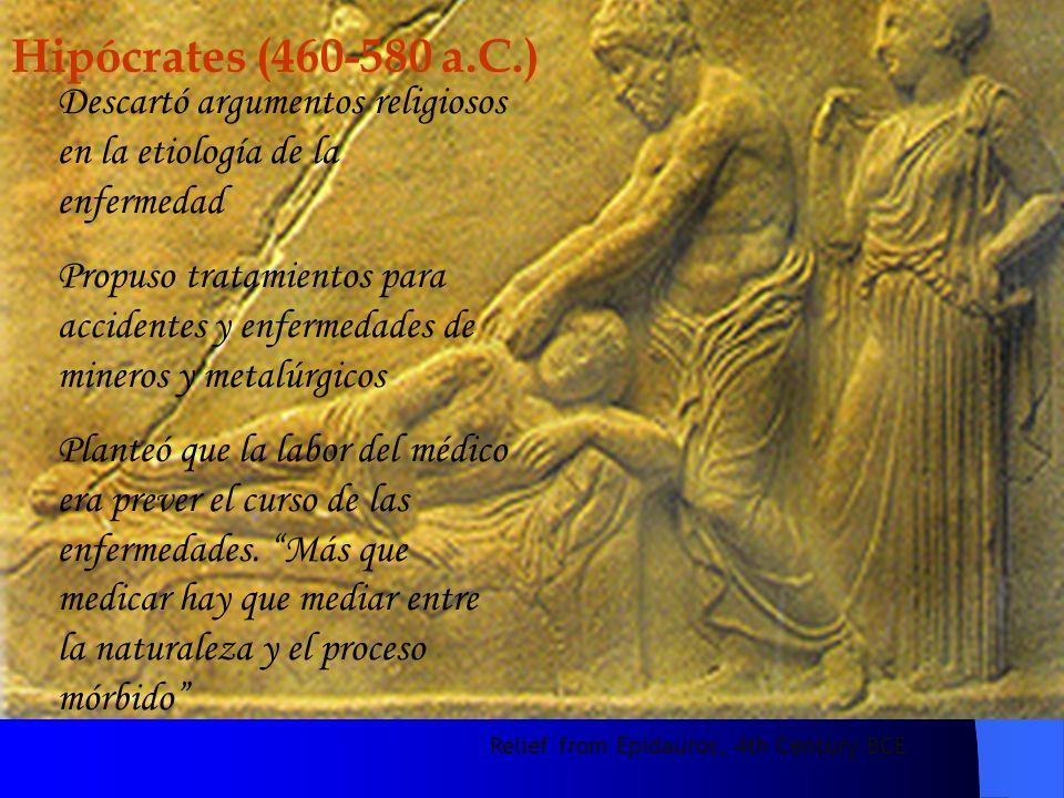 Hipócrates (460-580 a.C.) Descartó argumentos religiosos en la etiología de la enfermedad.
