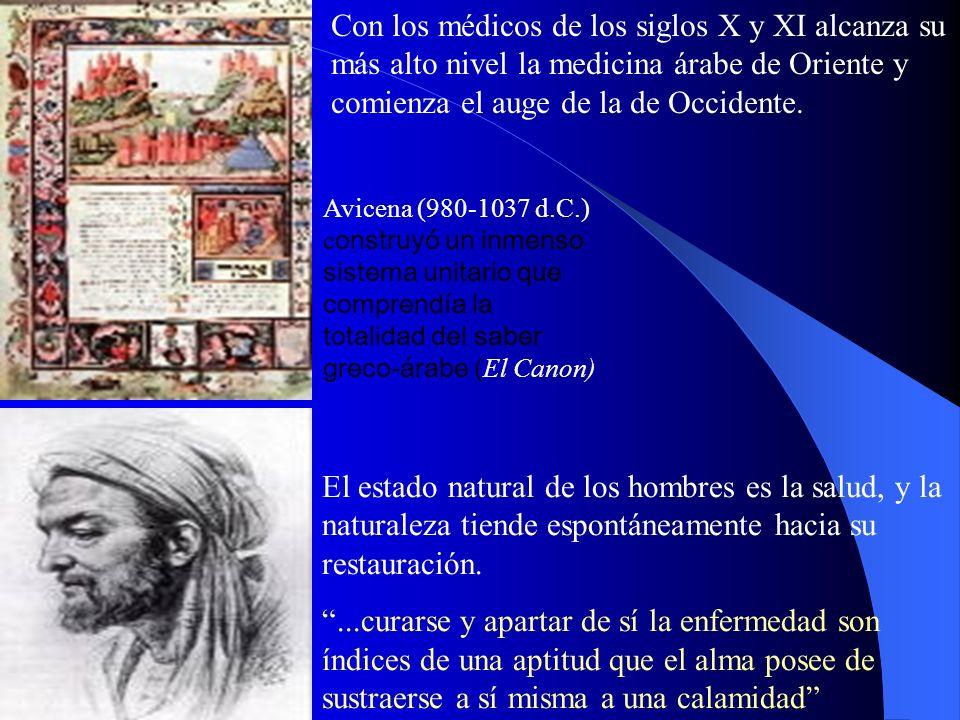 Con los médicos de los siglos X y XI alcanza su más alto nivel la medicina árabe de Oriente y comienza el auge de la de Occidente.