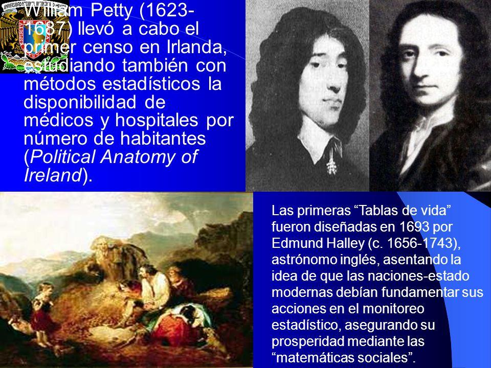 William Petty (1623-1687) llevó a cabo el primer censo en Irlanda, estudiando también con métodos estadísticos la disponibilidad de médicos y hospitales por número de habitantes (Political Anatomy of Ireland).