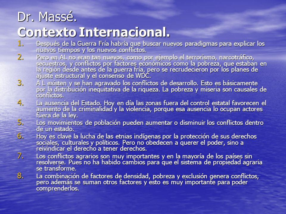 Dr. Massé. Contexto Internacional.