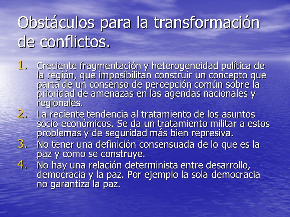 Obstáculos para la transformación de conflictos.