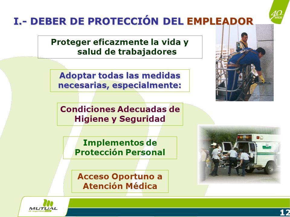 I.- DEBER DE PROTECCIÓN DEL EMPLEADOR