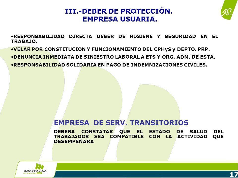 III.-DEBER DE PROTECCIÓN. EMPRESA USUARIA.