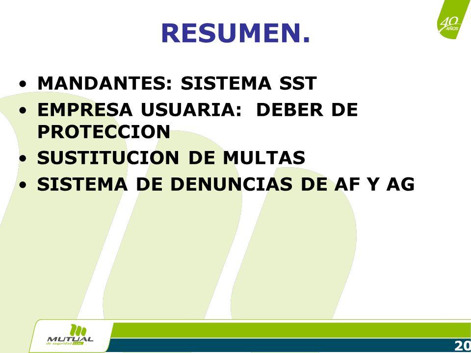 RESUMEN. MANDANTES: SISTEMA SST EMPRESA USUARIA: DEBER DE PROTECCION