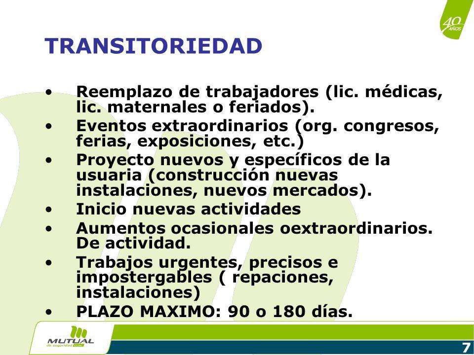 TRANSITORIEDADReemplazo de trabajadores (lic. médicas, lic. maternales o feriados).