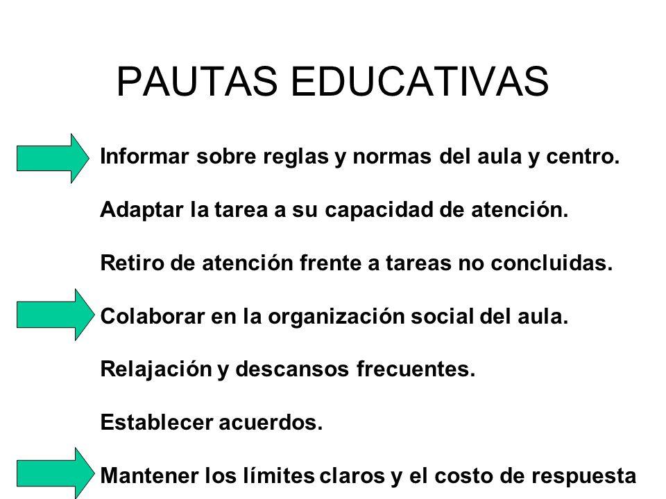 PAUTAS EDUCATIVAS Informar sobre reglas y normas del aula y centro.
