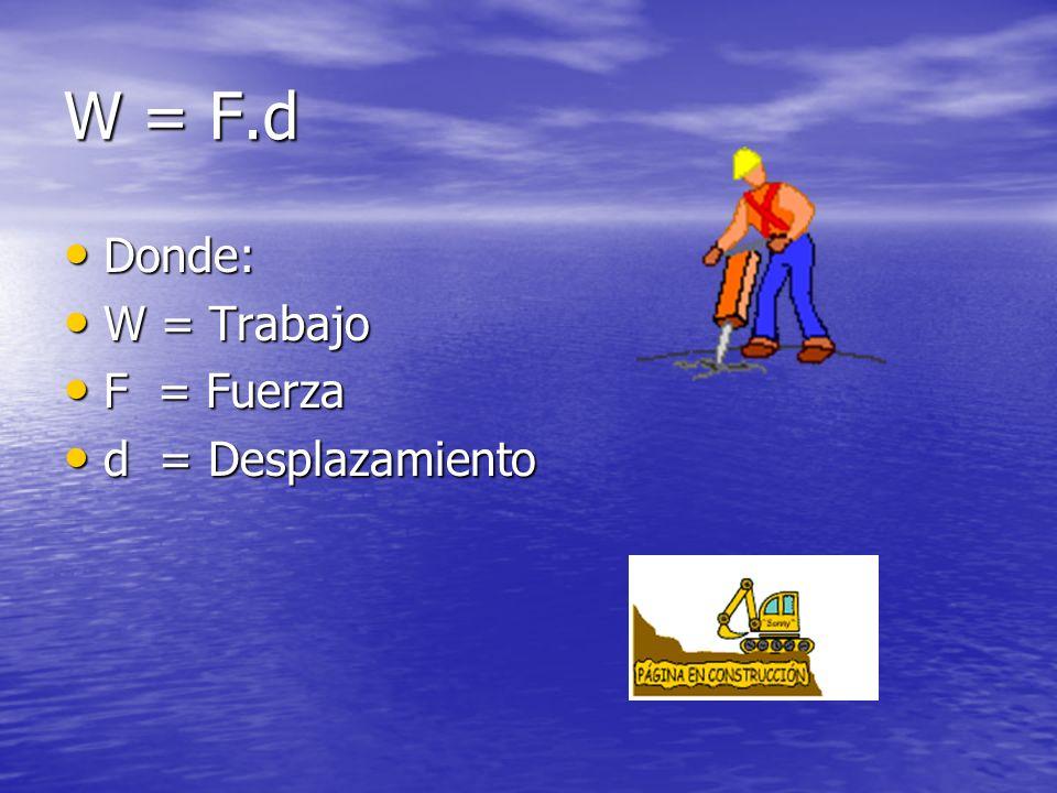 W = F.d Donde: W = Trabajo F = Fuerza d = Desplazamiento