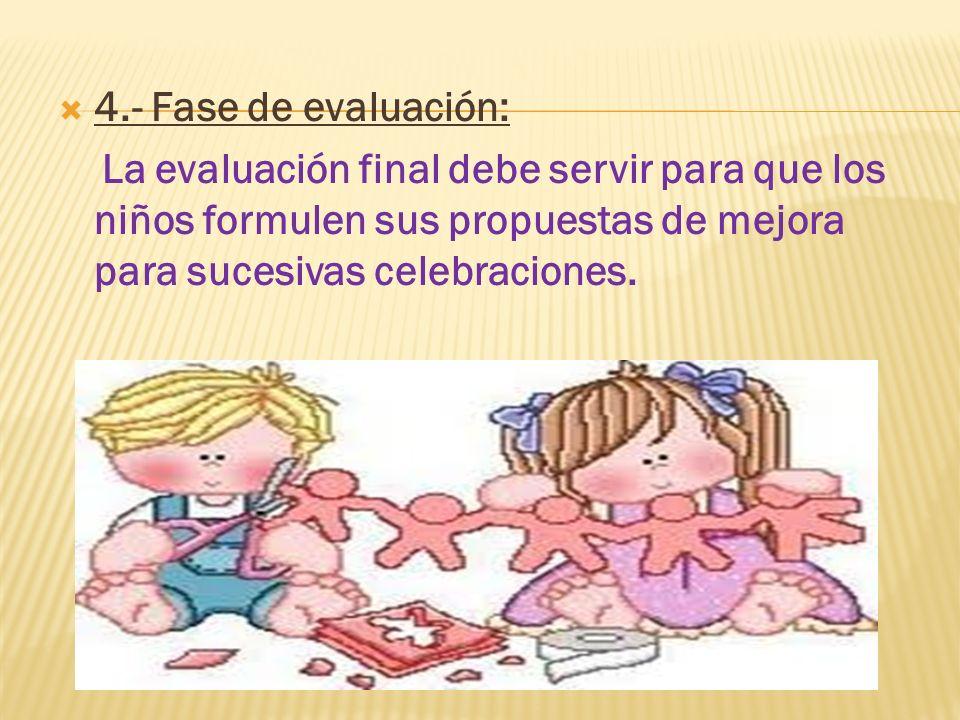 4.- Fase de evaluación:La evaluación final debe servir para que los niños formulen sus propuestas de mejora para sucesivas celebraciones.