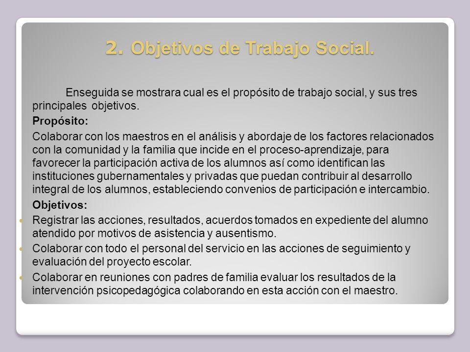 2. Objetivos de Trabajo Social.