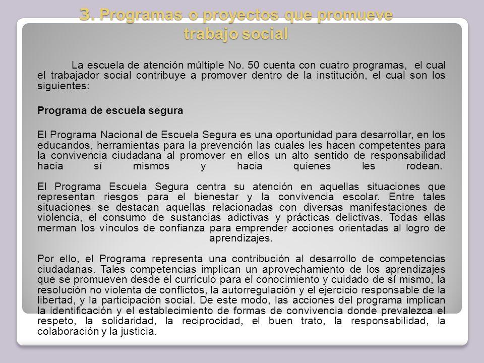 3. Programas o proyectos que promueve trabajo social
