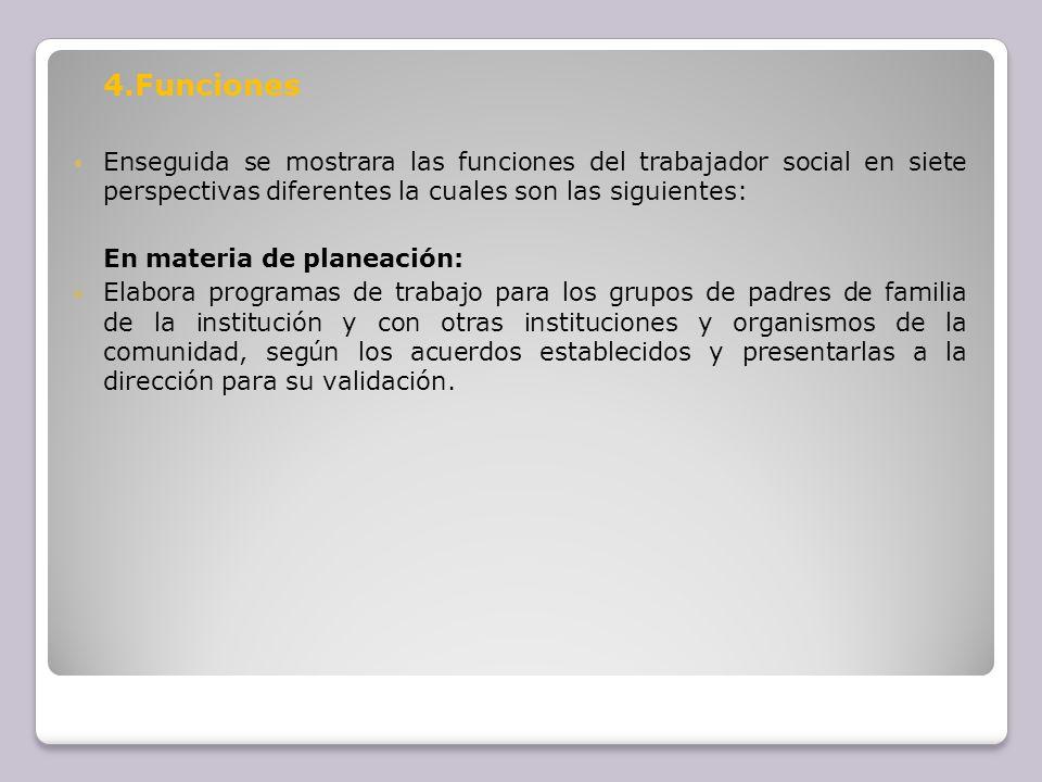 4.Funciones Enseguida se mostrara las funciones del trabajador social en siete perspectivas diferentes la cuales son las siguientes: