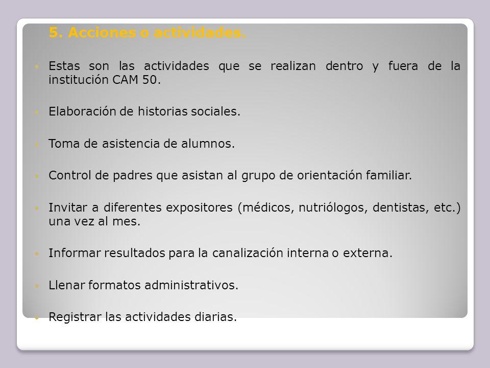 5. Acciones o actividades.