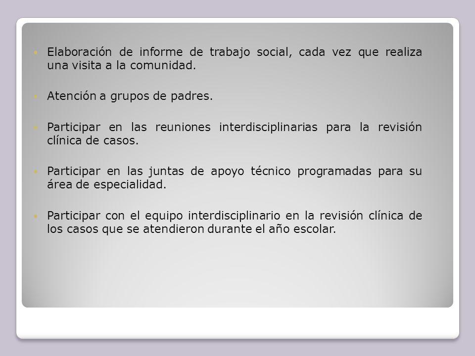 Elaboración de informe de trabajo social, cada vez que realiza una visita a la comunidad.