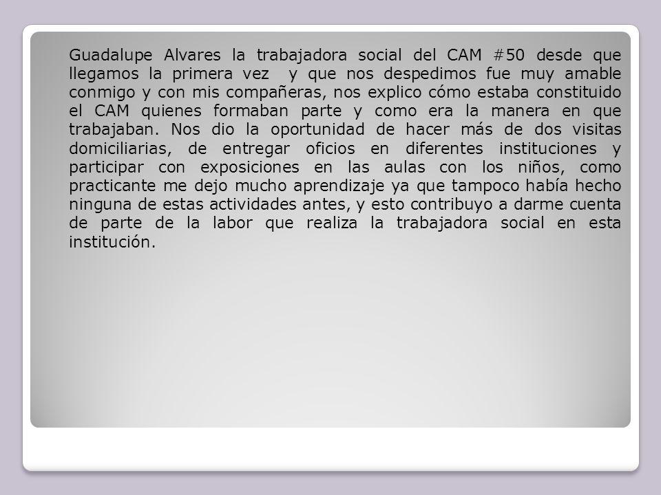 Guadalupe Alvares la trabajadora social del CAM #50 desde que llegamos la primera vez y que nos despedimos fue muy amable conmigo y con mis compañeras, nos explico cómo estaba constituido el CAM quienes formaban parte y como era la manera en que trabajaban.