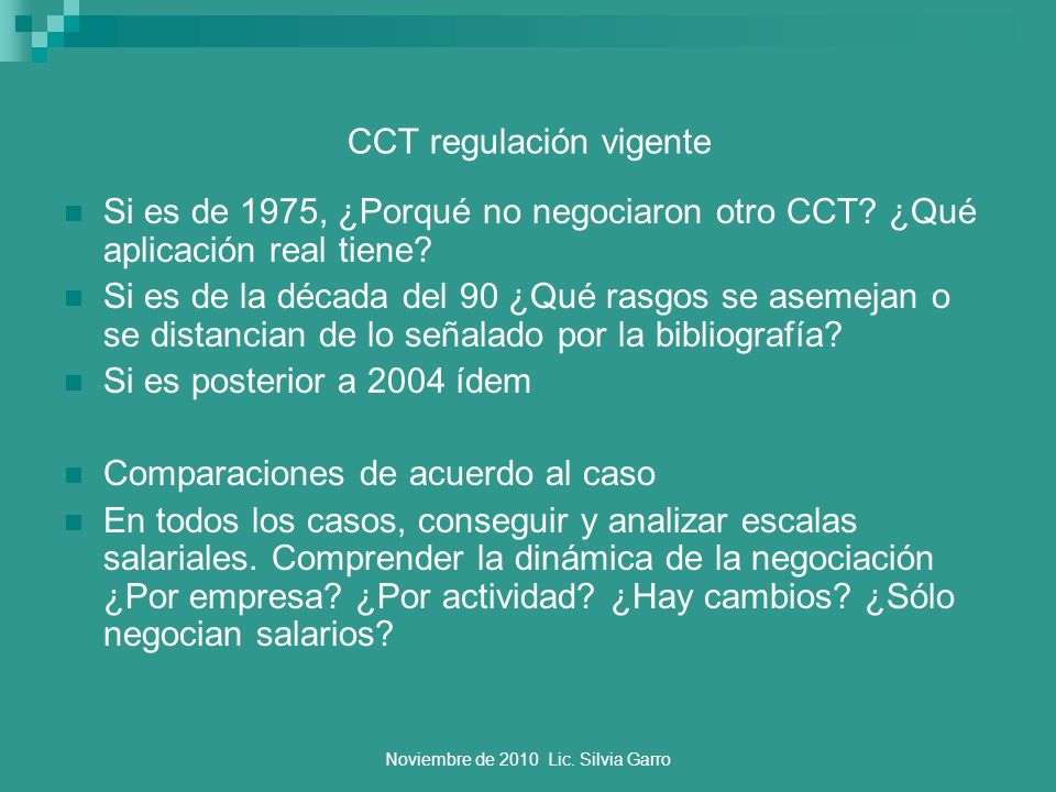 CCT regulación vigente