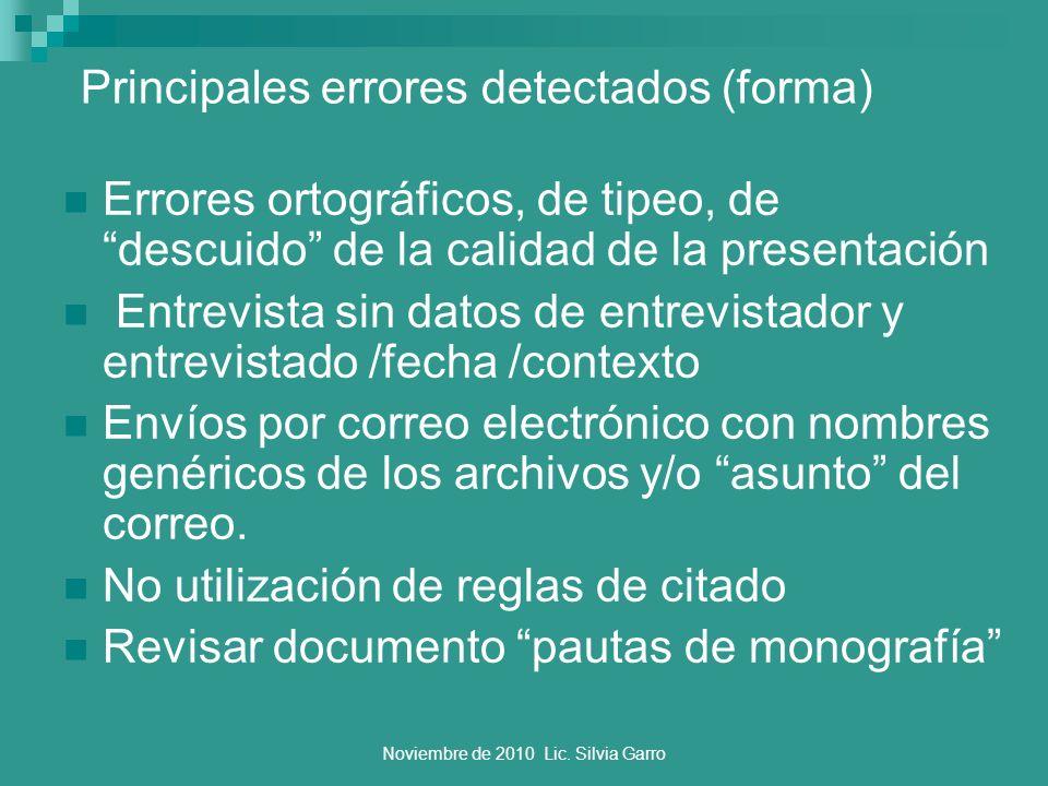 Principales errores detectados (forma)