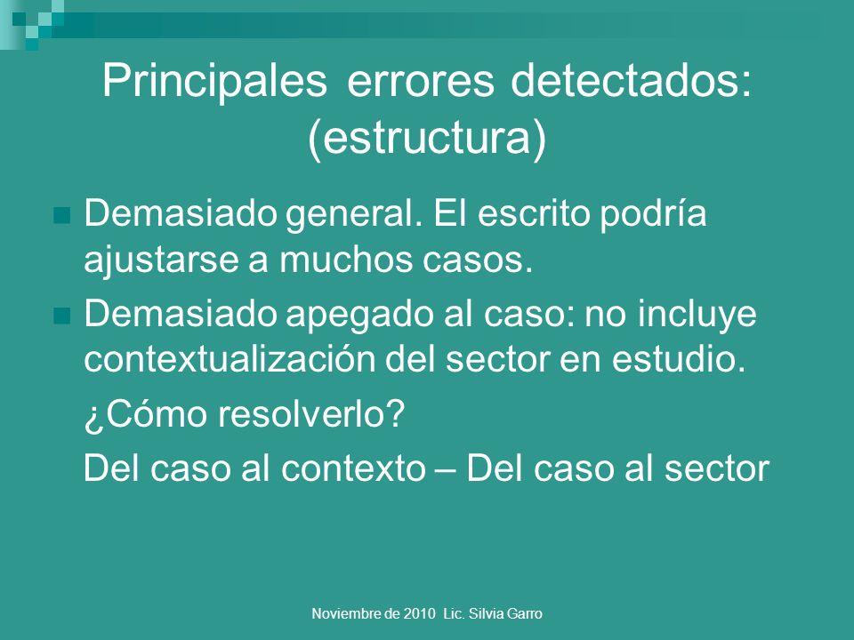 Principales errores detectados: (estructura)