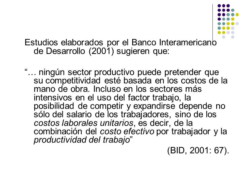 Estudios elaborados por el Banco Interamericano de Desarrollo (2001) sugieren que: