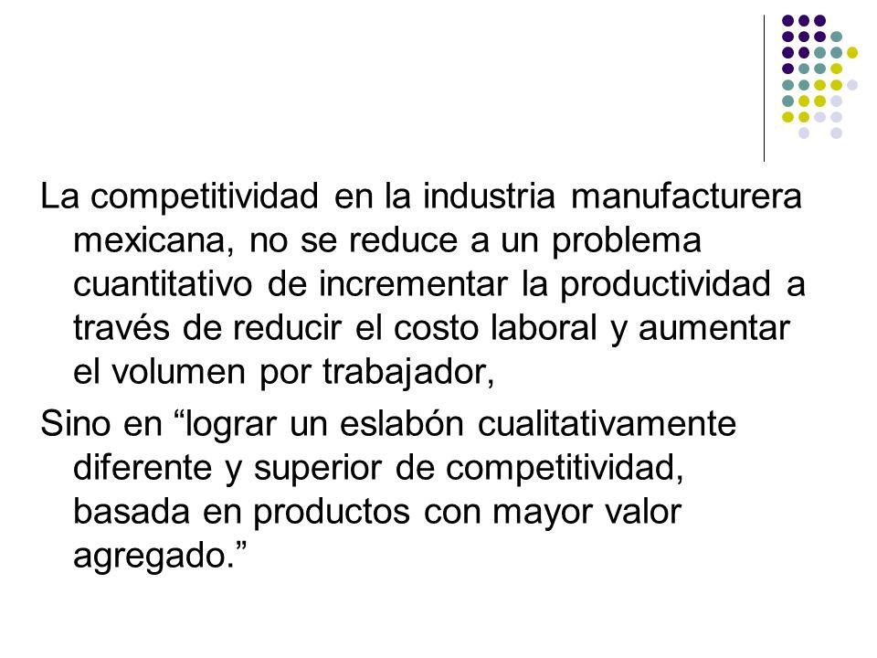 La competitividad en la industria manufacturera mexicana, no se reduce a un problema cuantitativo de incrementar la productividad a través de reducir el costo laboral y aumentar el volumen por trabajador,