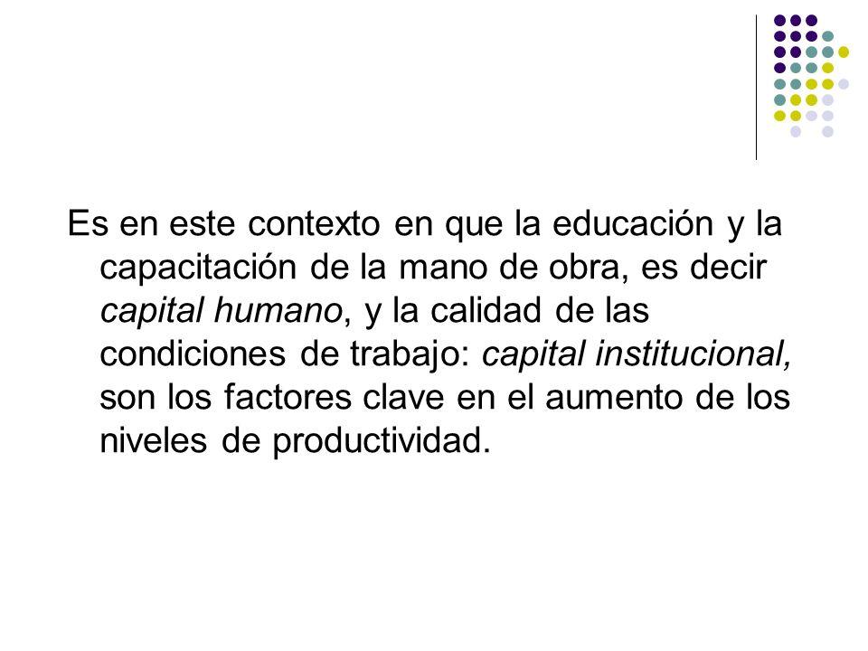 Es en este contexto en que la educación y la capacitación de la mano de obra, es decir capital humano, y la calidad de las condiciones de trabajo: capital institucional, son los factores clave en el aumento de los niveles de productividad.