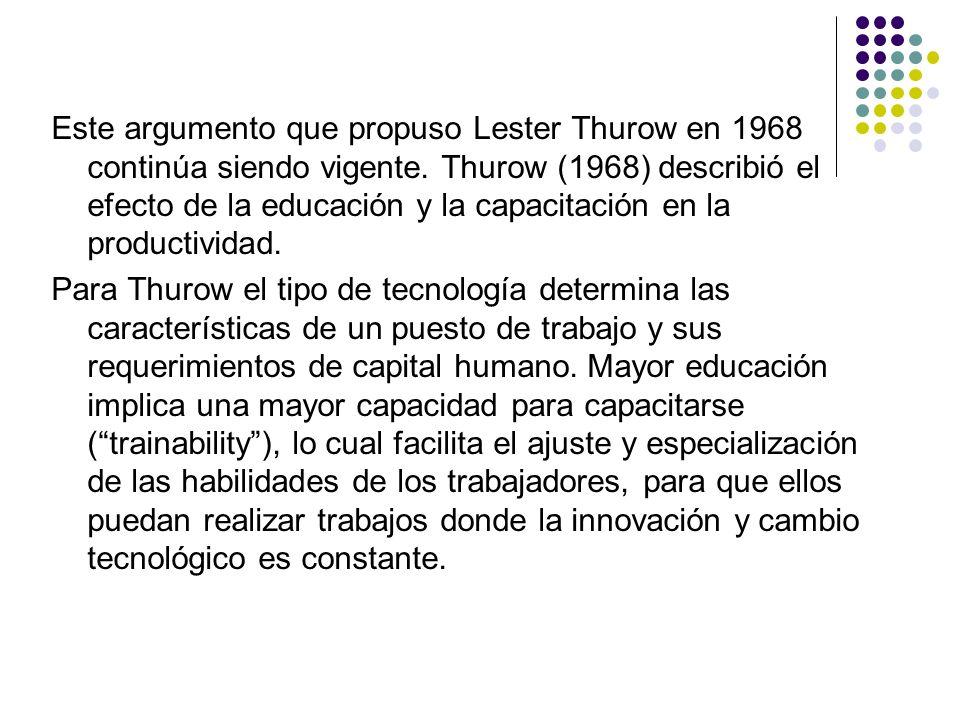 Este argumento que propuso Lester Thurow en 1968 continúa siendo vigente. Thurow (1968) describió el efecto de la educación y la capacitación en la productividad.