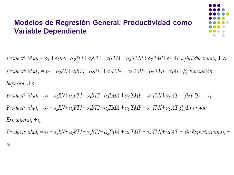 Modelos de Regresión General, Productividad como Variable Dependiente