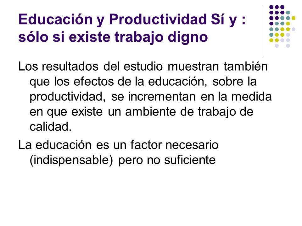 Educación y Productividad Sí y : sólo si existe trabajo digno