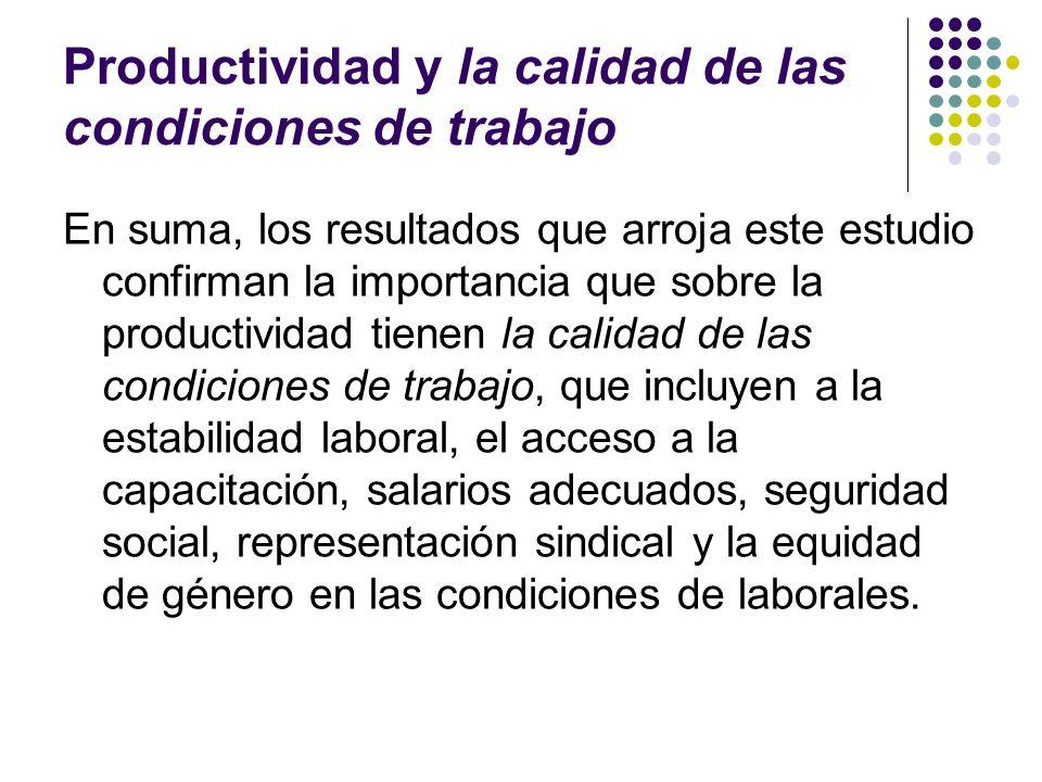 Productividad y la calidad de las condiciones de trabajo