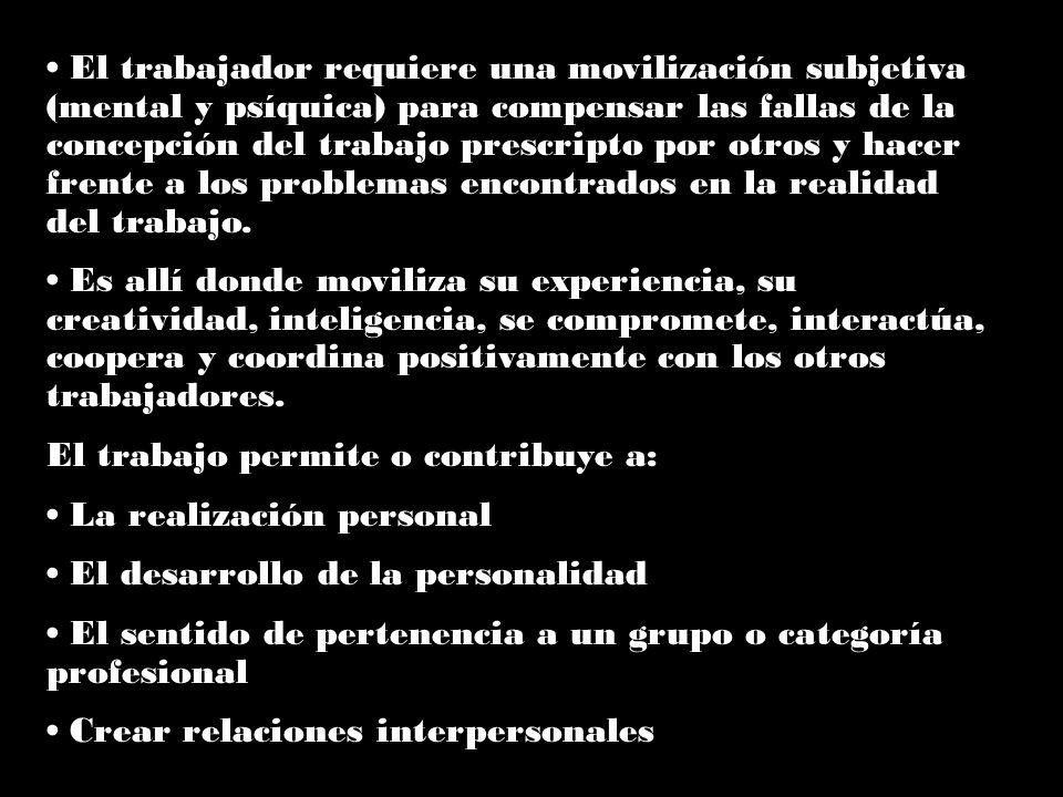 El trabajador requiere una movilización subjetiva (mental y psíquica) para compensar las fallas de la concepción del trabajo prescripto por otros y hacer frente a los problemas encontrados en la realidad del trabajo.