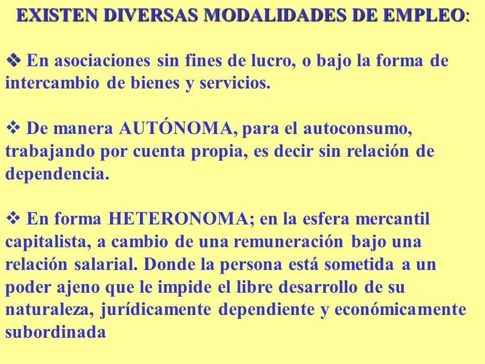 EXISTEN DIVERSAS MODALIDADES DE EMPLEO: