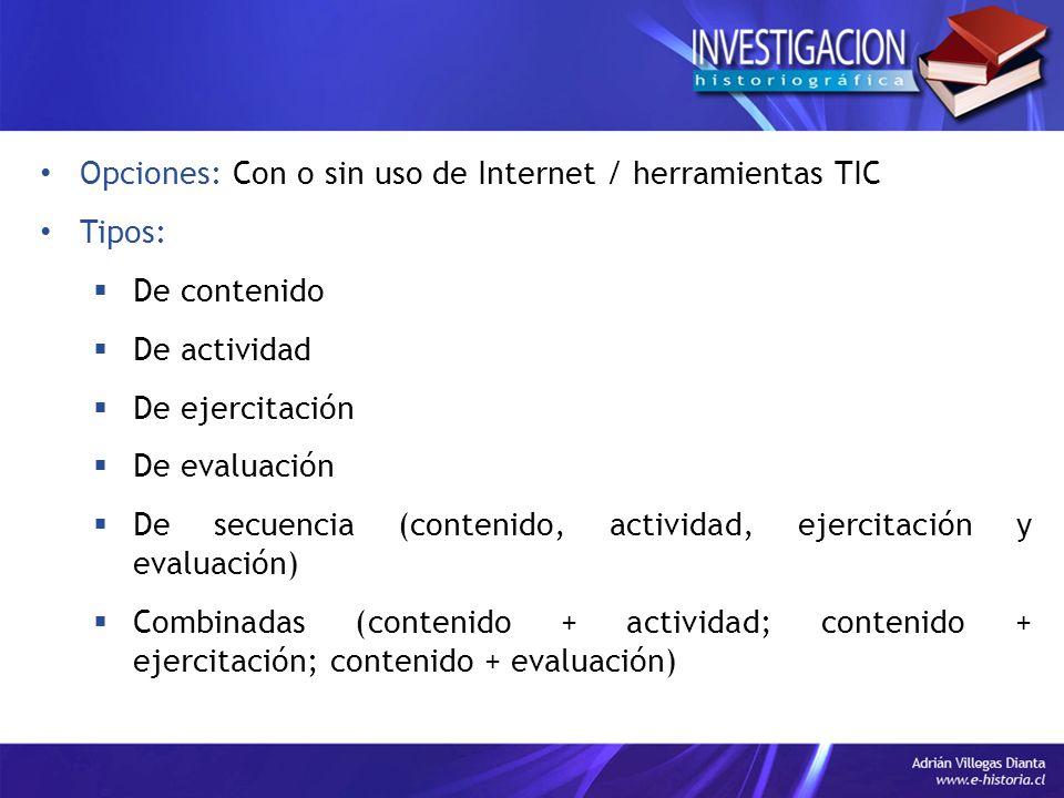 Opciones: Con o sin uso de Internet / herramientas TIC