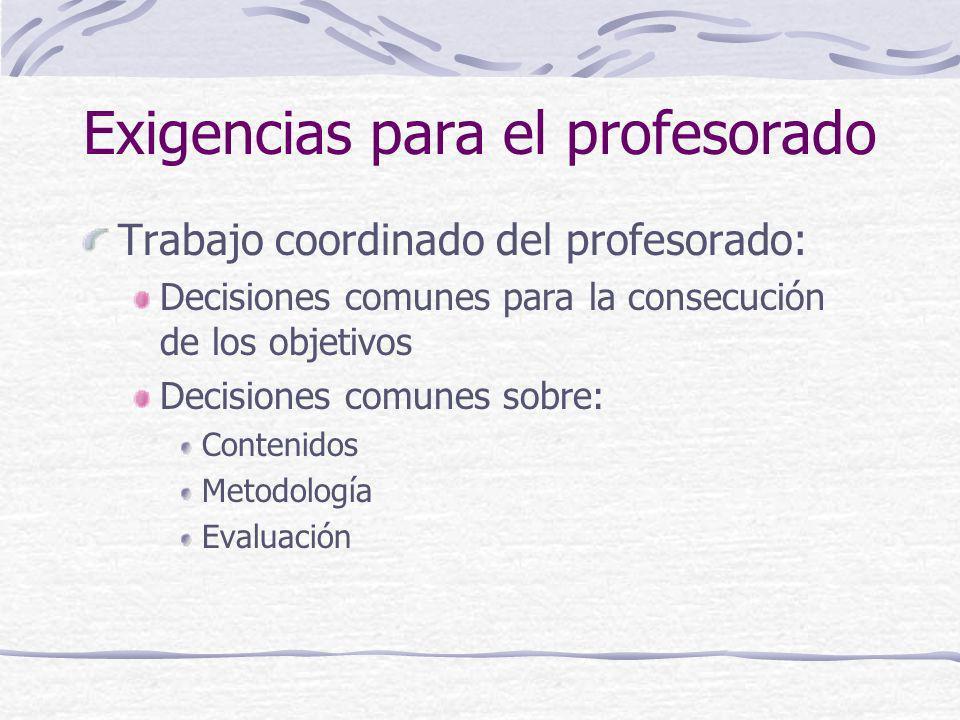 Exigencias para el profesorado