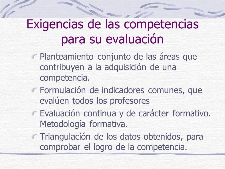 Exigencias de las competencias para su evaluación
