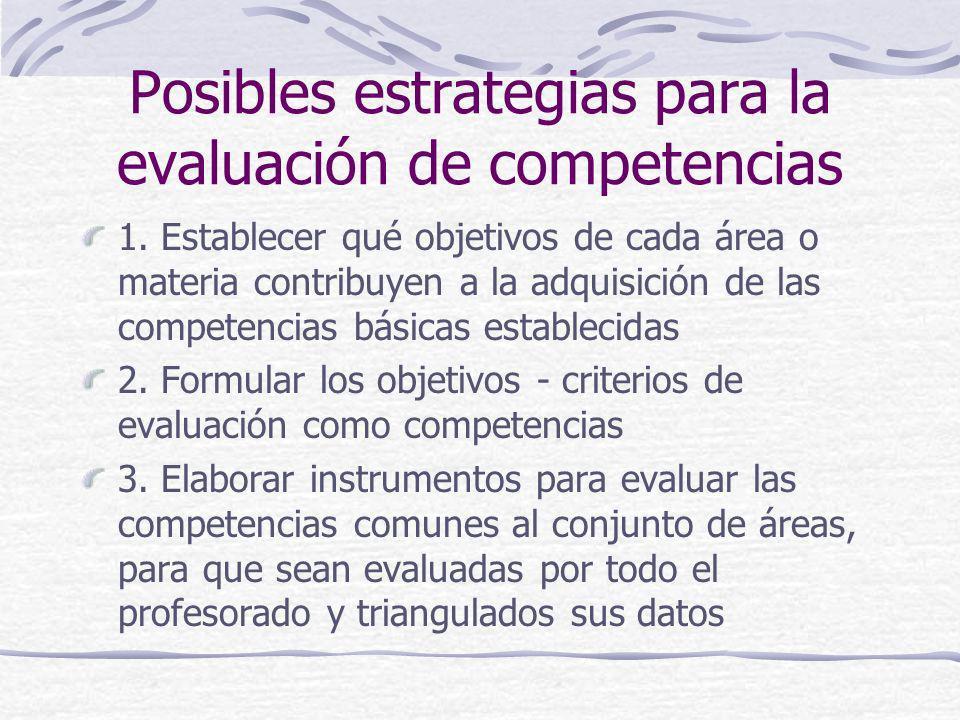 Posibles estrategias para la evaluación de competencias