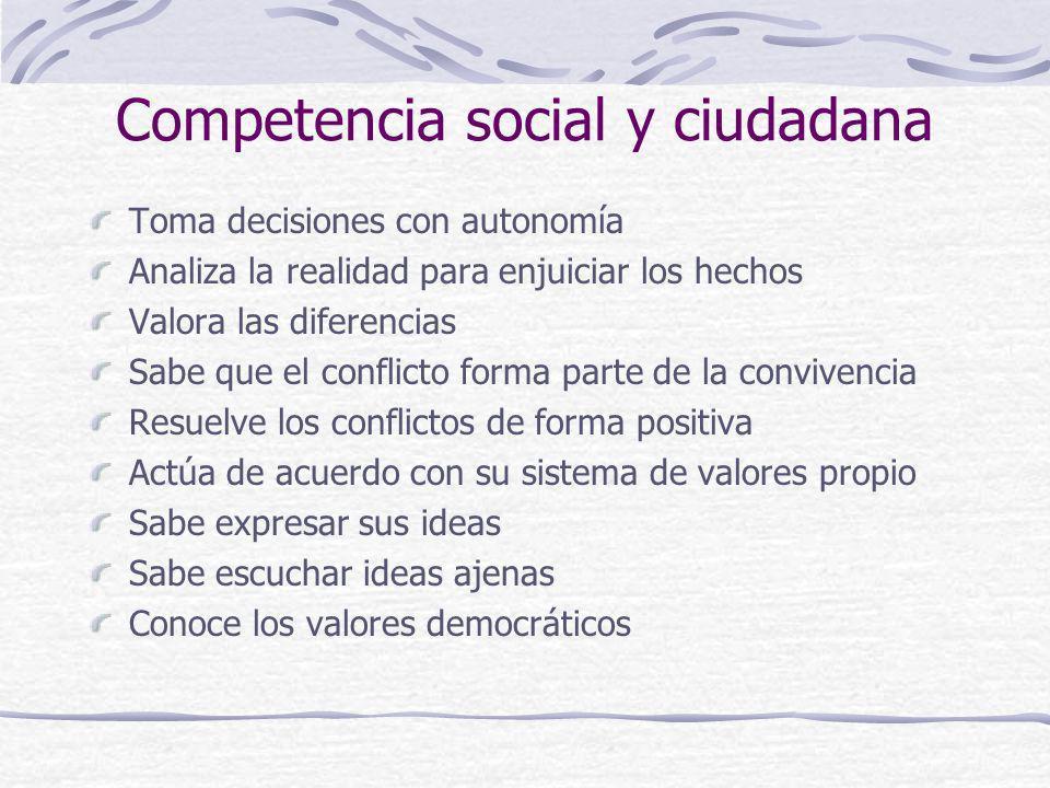 Competencia social y ciudadana