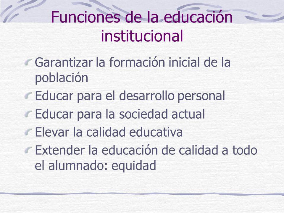 Funciones de la educación institucional
