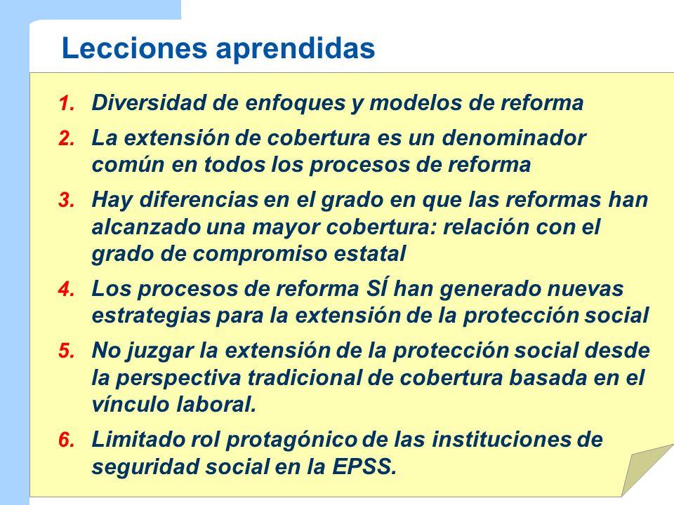 Lecciones aprendidas Diversidad de enfoques y modelos de reforma