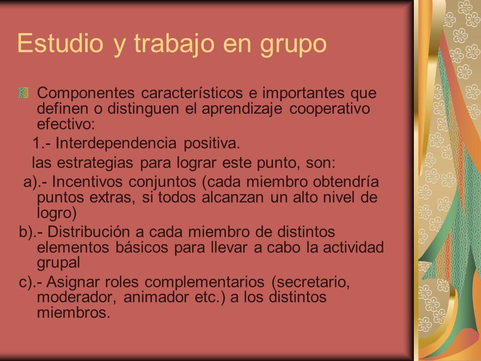 Estudio y trabajo en grupo