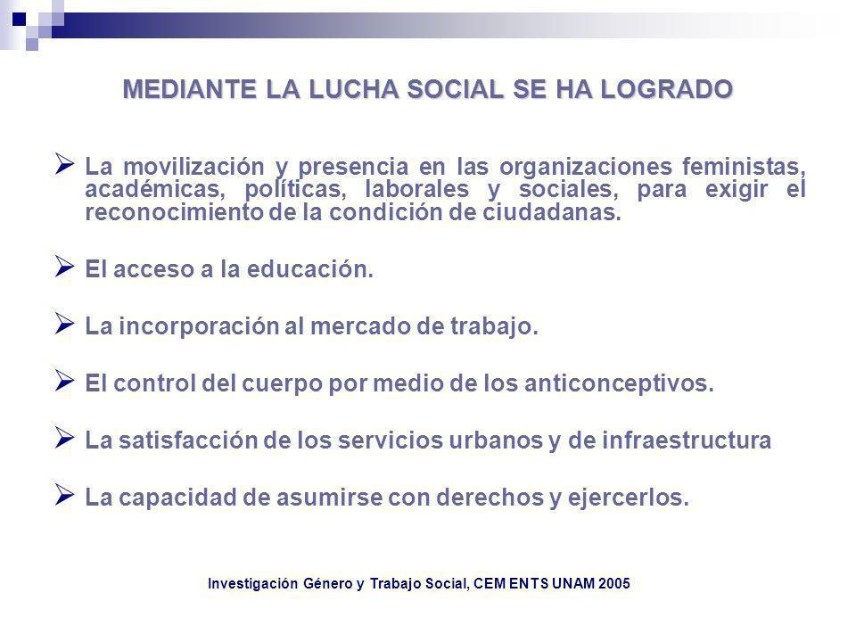 MEDIANTE LA LUCHA SOCIAL SE HA LOGRADO